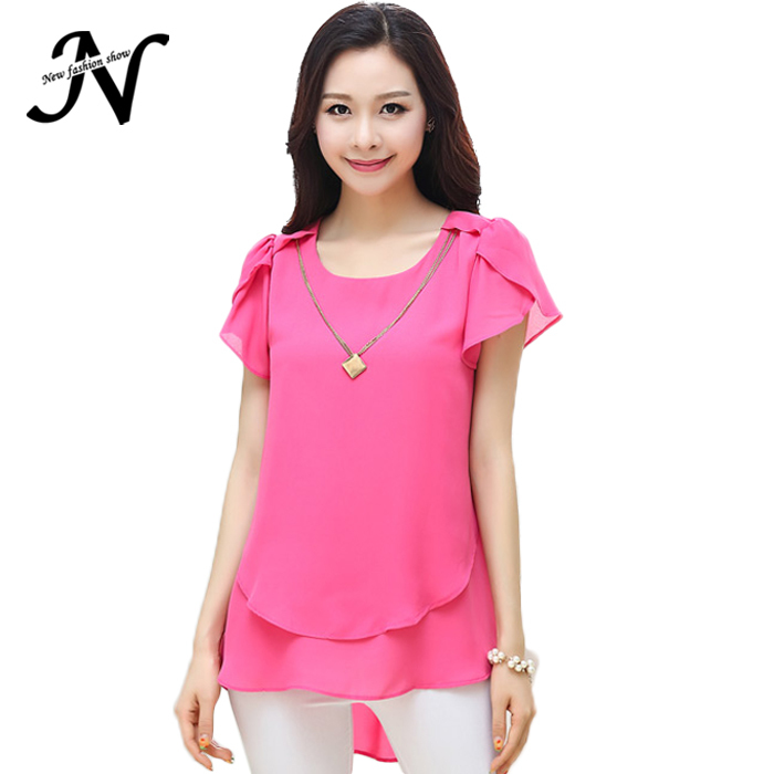 New 2015 Summer Women Chiffon Blouse Short Sleeve Fashion Trendy Women Tops And Blouses Plus Size Women Clothing 4XL 1995