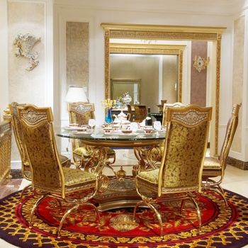 Good Price Royal Antique Baroque Brass Leg Glass Top European Round