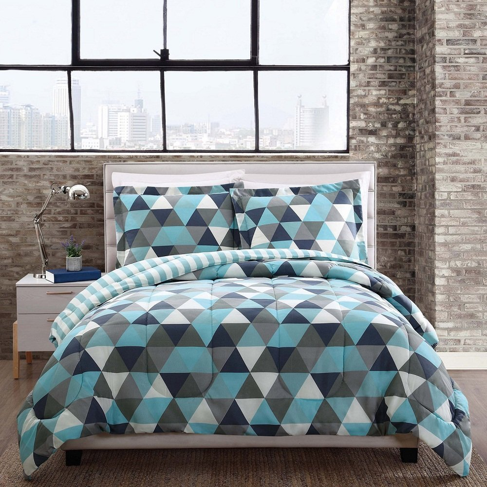 3 Piece Blue Grey White Black Geometric Triangle Theme Comforter Full Queen Set, Stylish Modern All Over Zigzag Triangles Bedding, Chic Multi Abstract Zig Zag Themed Pattern, Light Teal Gray Charcoal