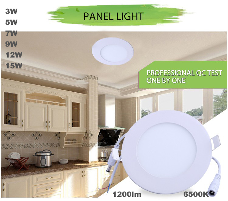 CE UL ROSH 3W 5W 7W 9W 12W 15W OEM ultra slim round plastic led panel light ,SMD2835 600lm energy saving panel led
