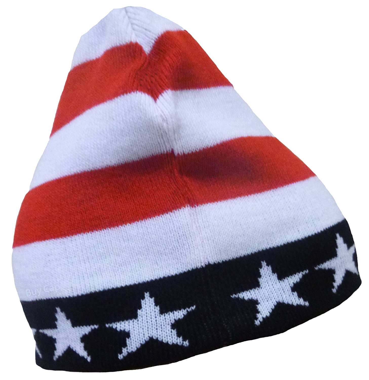 fa122f83ad49e4 Get Quotations · American Flag Ski Cap Beanie USA Winter Watch Hat and  Bumper Sticker