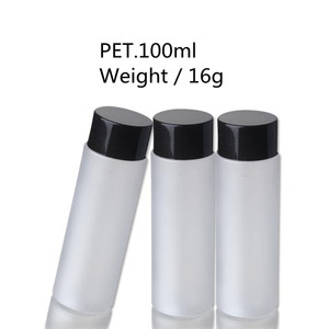 100ml Frosted PET Cylinder Screw Cap Plastic Bottle w/ Black Double Wall Screw Cap & Tip Liner