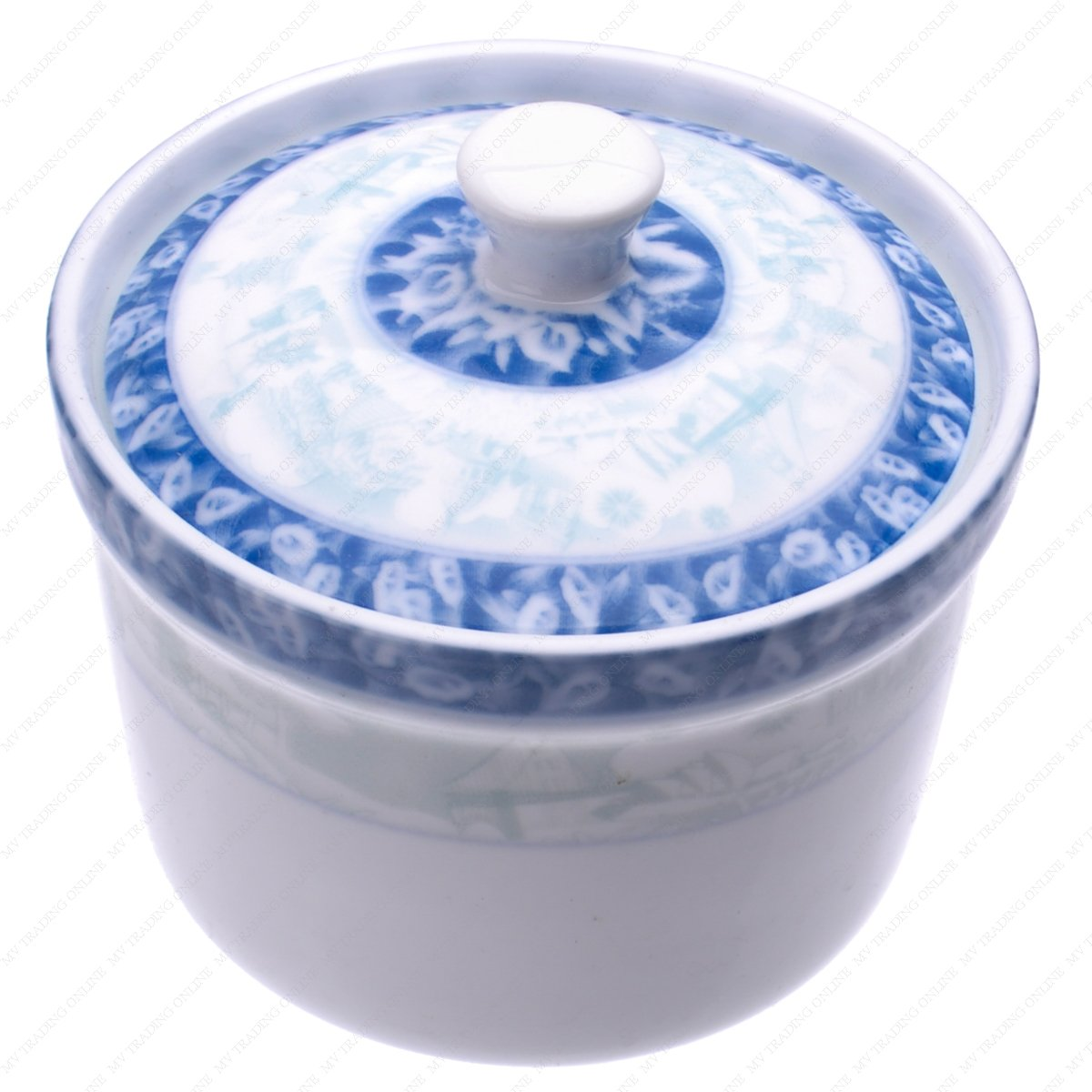 M.V. Trading PCG35 Personal Ceramic Steam Stew Pot / Soup Bowl with Lid, World Scenery Design, 3-1/2 Inches (DIA.) x 2-5/8 Inches (H), 3/4 Cups (6 Ounces)