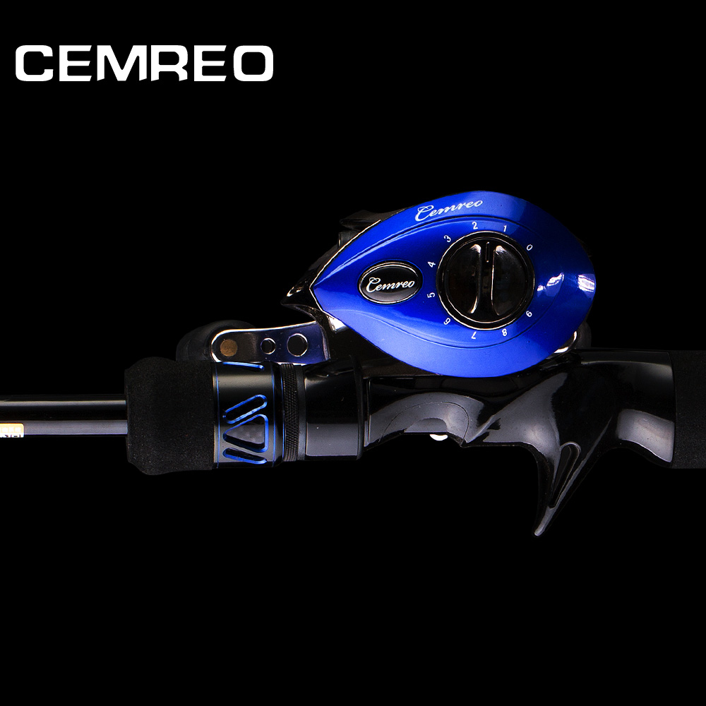 CEMREO Carbon 2.1m 2.4m Baitcasting Fishing Rod and Reel Combo Set, 3 colors-gold/blue/red