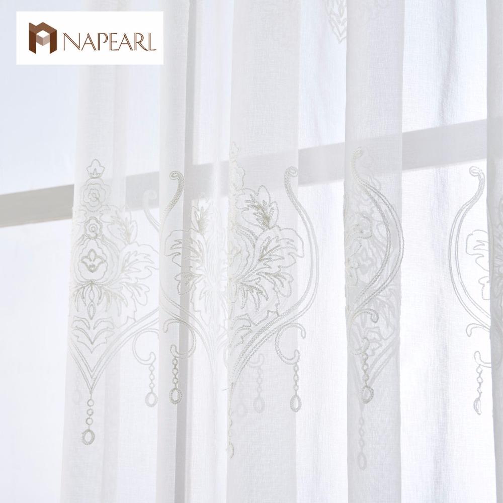 NAPEARL Geborduurde tule linnen gordijnen wit Europese stijl luxe ...
