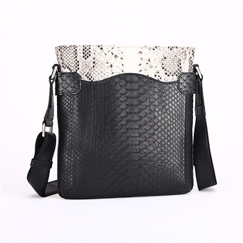 Fashion 2015 Men's Genuine Python Snake Skin Shoulder Bag Messenger Bag Black