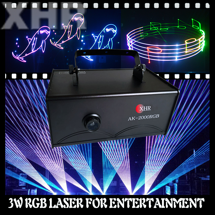 XHR new scan angle 80 degree text laser projector 3w rgb laser color lighting for dj