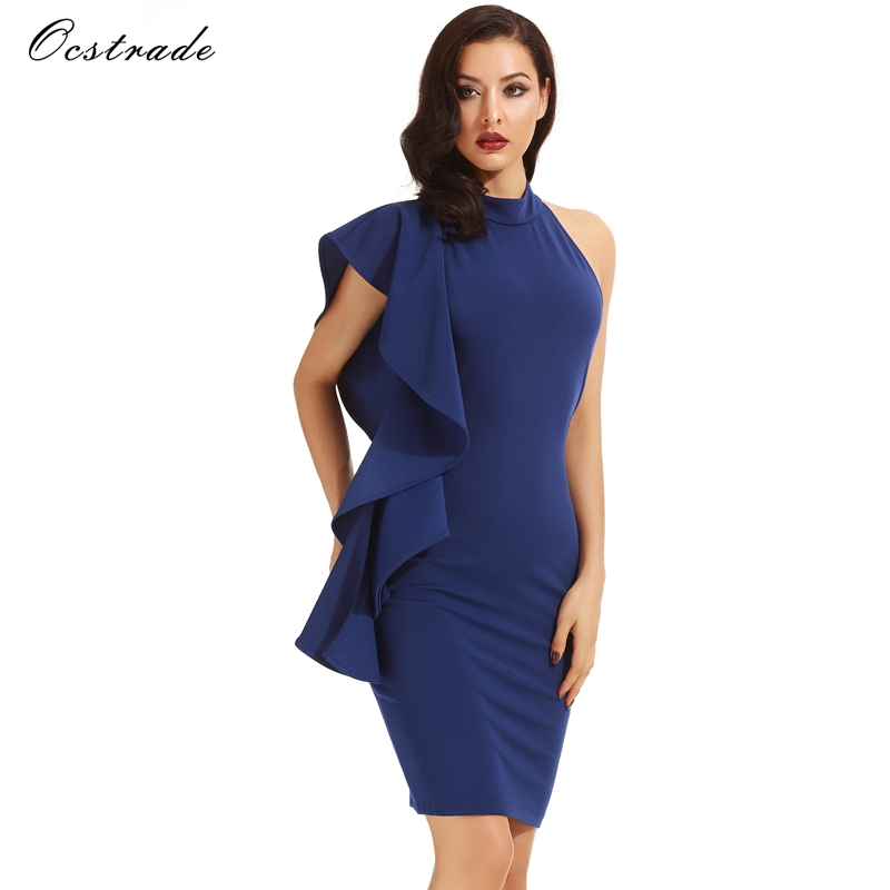 Ocstrade Woman's Fashion 2017 Summer Blue Halter Sleeveless Knee Length Ruffles Elegant Bodycon <strong>Dress</strong>