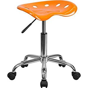 Parkside Vibrant Orange Tractor Seat and Chrome Stool