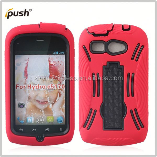 2014 new design pc silicon for kyocera hydro c5170 hybird combo mobilephone case