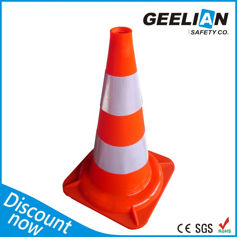 Weighted Industrial Collapsible PVC Blue and White Traffic Cone Hat
