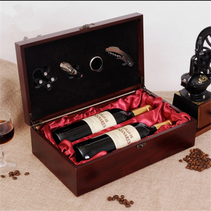 Small Double bottle Wooden Wine box with Accessories Packaging Box with handle custom made mdf wood leather gift set wine box