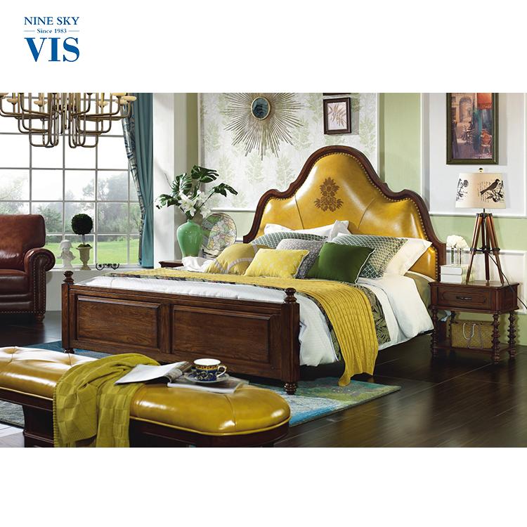 Larga vida real tamaño extra cuero/chino antiguo cama de madera ...
