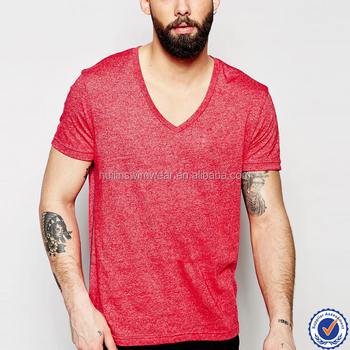 China Latest Design Mens Red T Shirt V Neck Comfort Colors T ...