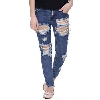 Fashion Damaged Slim Blue Ripped Jeans Women Hot Sale - Buy