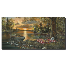 2017 Best selling riverbank scenery wall art canvas painting arts