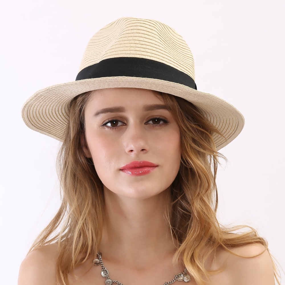b7b36d6e49941 Get Quotations · 2015 Summer Style New Black Ribbon Mens Sun Cheapeu Fedora  Hat Beige Women Wide Brim Floppy