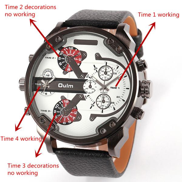 c7d66b41f1f 2017 Nova Chegada Top Japão movt Quartzo 2 Fuso horário OULM 3548 Relógio  Casual Relógios Big