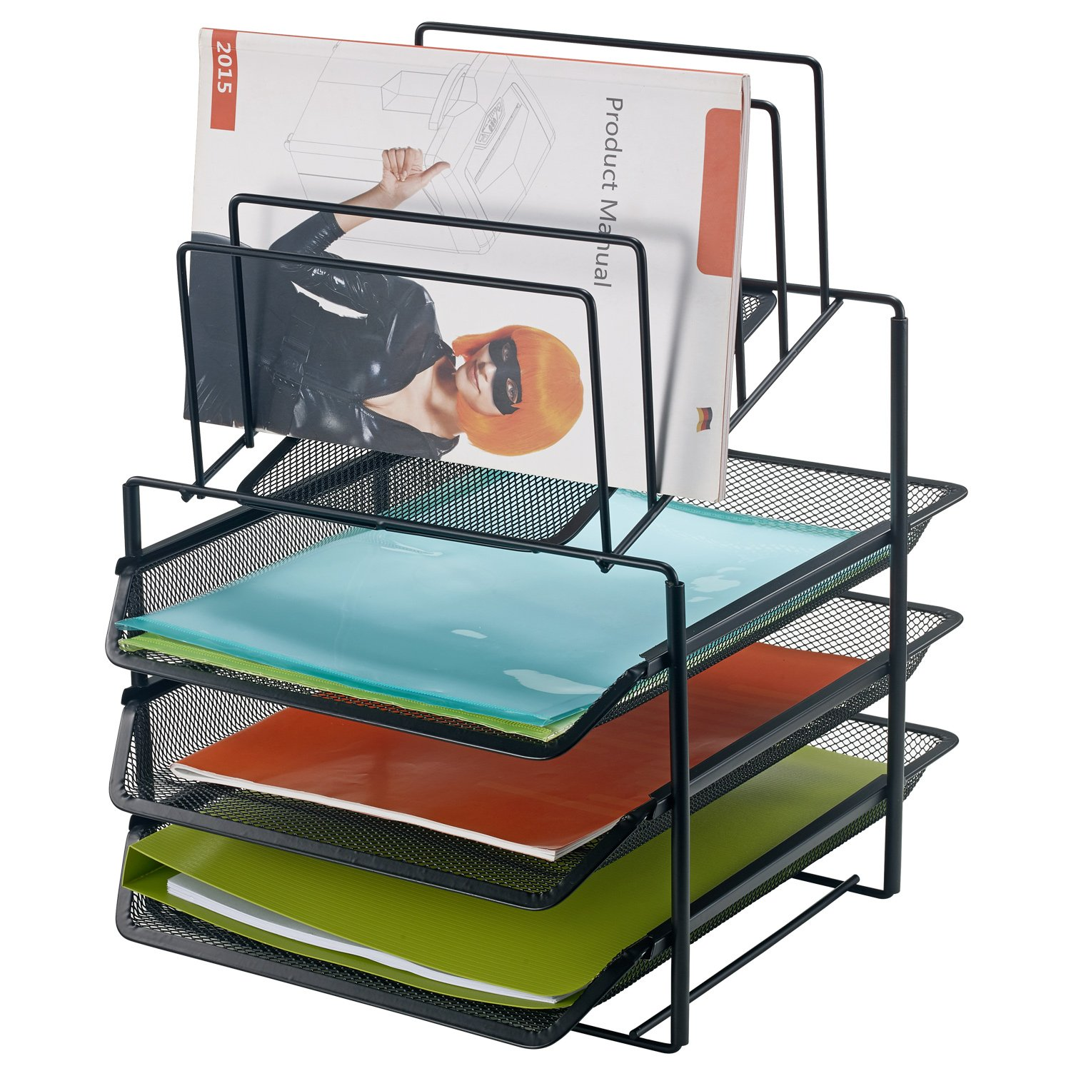 Bonsaii Desk Organizer with 3-Tier Letter File Tray and 5 Stacking Sorter Section,Mesh File Office Organizer,Black(W6428)