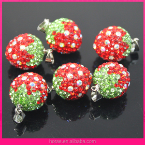 strawberry shape of rhinestone pendant charms shamballa beads