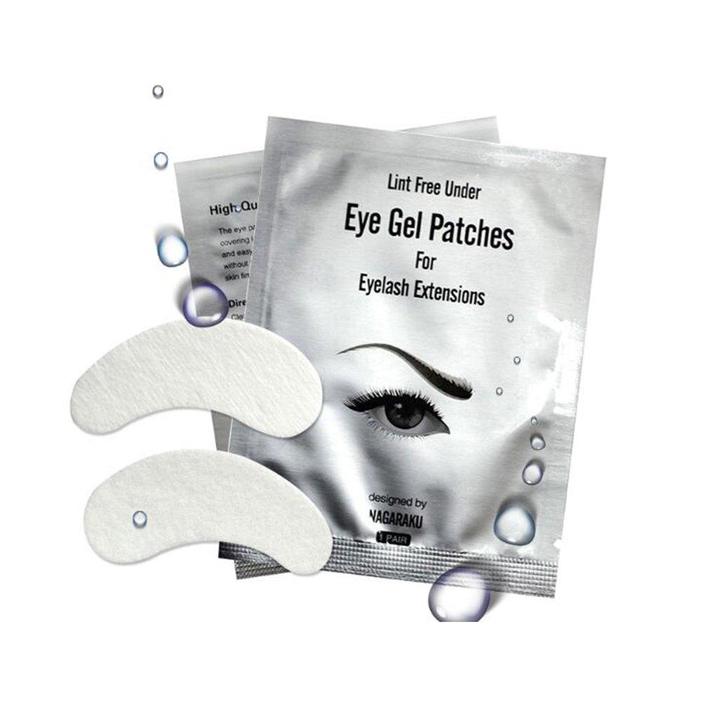 NAGARAKU 50 Pairs Set,Under Eye Pads, Lint Free Lash Extension Eye Gel Patches for Eyelash Extension Eye Mask Beauty Tool (50 Pairs Set)