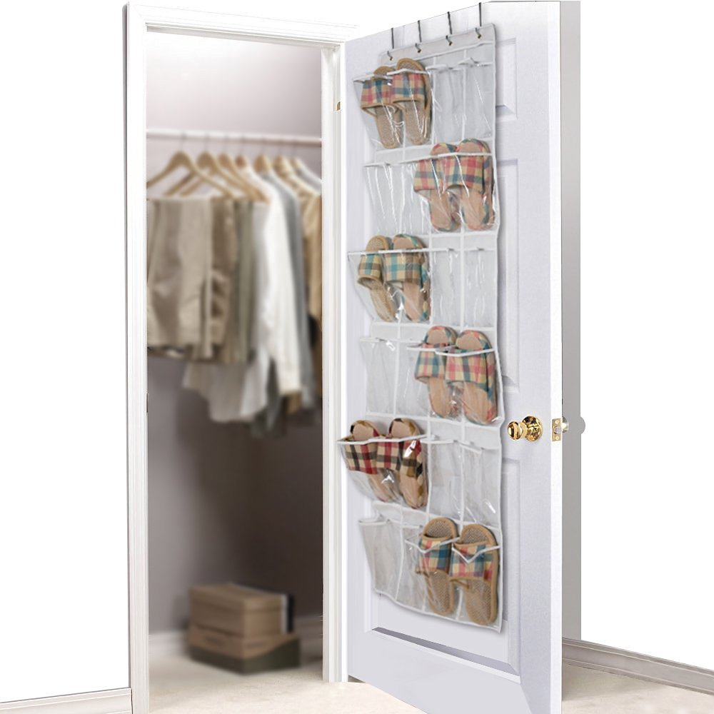 Get Quotations · HOUSE DAY Over The Door Shoe Rack 24 PVC Pocket Shoe  Storage Hanging Shoe Rack White