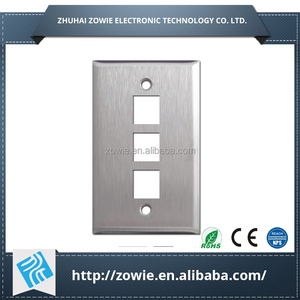 Metal 3 port rj45 Keystone wall plate