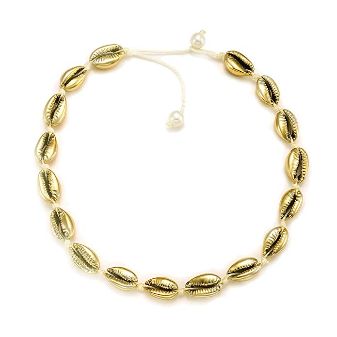 Latest Best Selling Women Choker Jewelry Gold And Silver Plated Metal Tribal Shell Necklace, Gold;silver