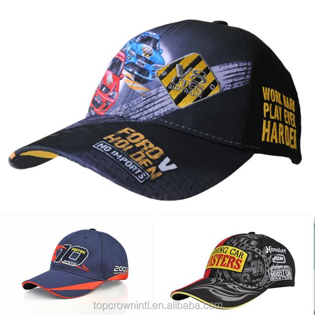 custom panels baseball style printed racing embroidered caps uk no minimum