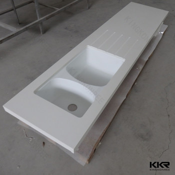 Man-made Stone Kitchen Molded Sink Glacier White Corain Countertops ...