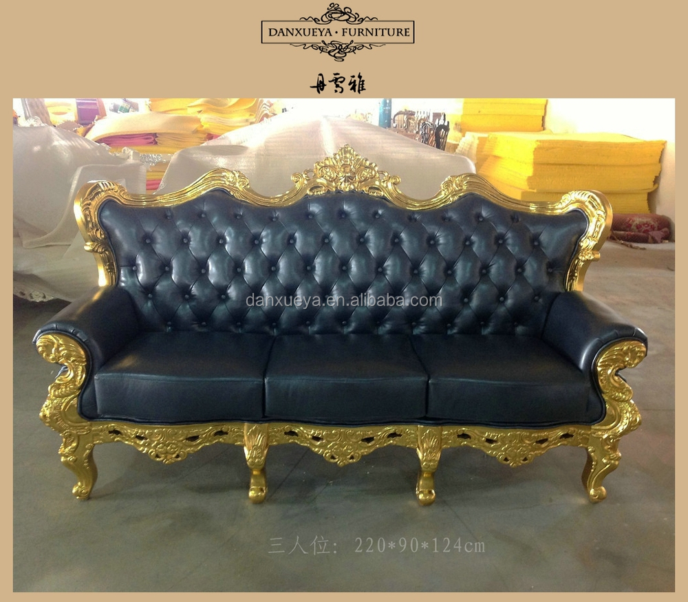 Dxy-836# Antique Gold Leaf Wood Frame Sofa Leather Sofa Set - Buy ...
