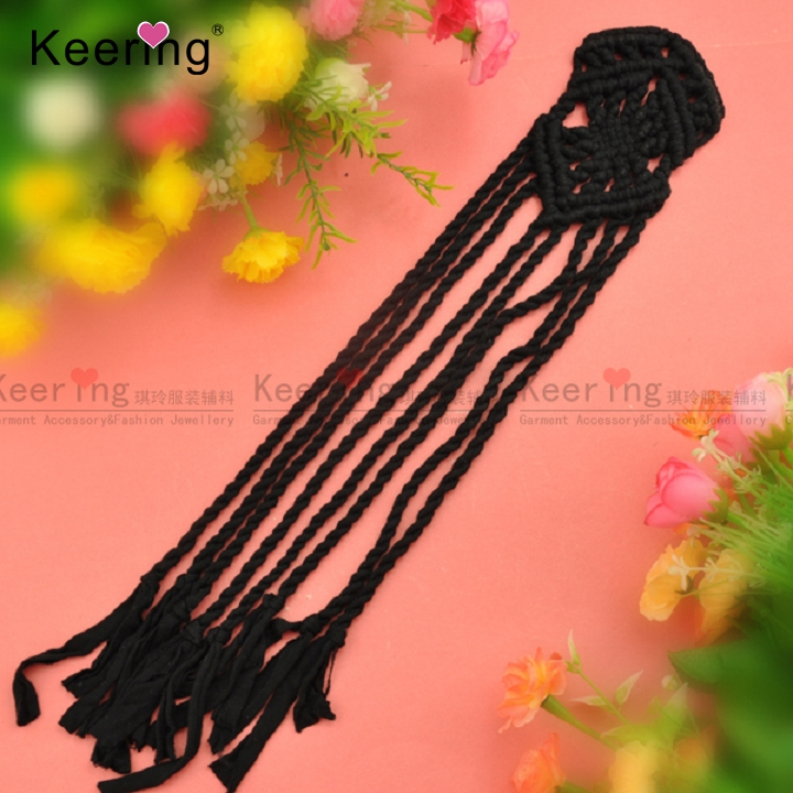 black crochet tassel lace patch for women decoration WLS-001