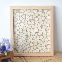 Custom Color and Letters Wedding Guest Book Wooden Heart Guest Book for Engagement Gift Guest Book Frame with 120 Hearts