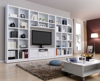 Modern White Tv Wall Unit Bookcase Shelf Entertainment Cabinet Stand