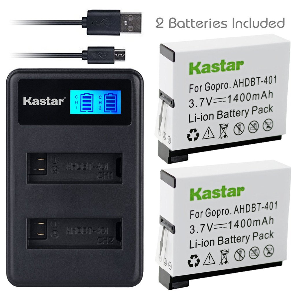 Kastar Battery (X2) & LCD Dual Slim Charger for GoPro HERO4 and GoPro AHDBT-401, AHBBP-401 Sport Cameras