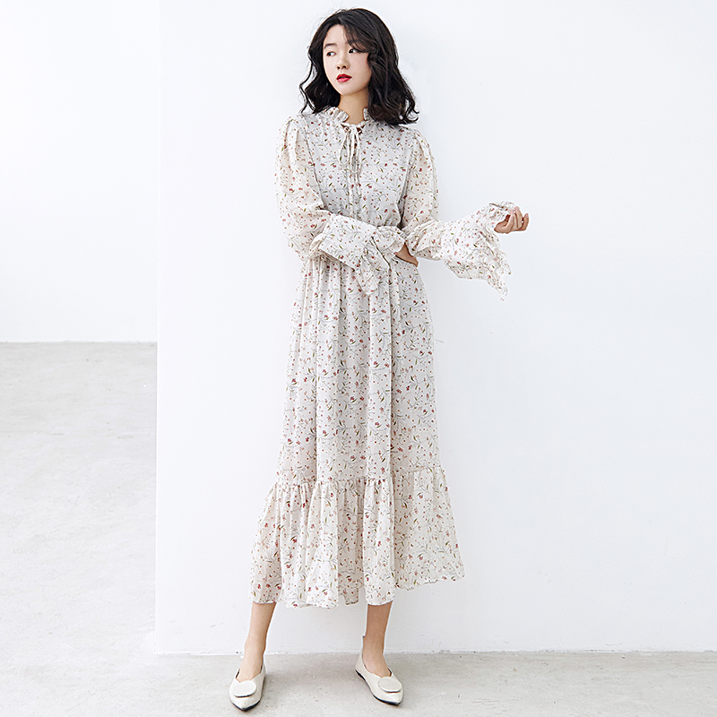 lady floral flower <strong>dress</strong> long sleeve design fashion <strong>dress</strong> elastic high waist chiffon clothes women <strong>dress</strong>