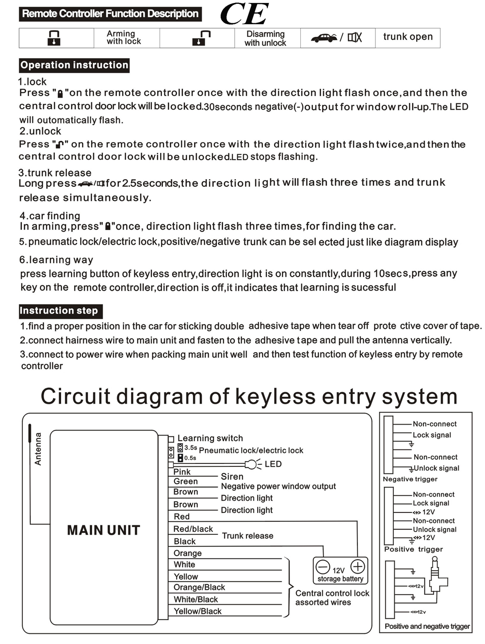 Car Alarm Keyless Entry Door Lock System Engine Start Stop Button 3 Wire Positive Trigger Schematic Of Cars Locking Systems Ke02 Diagram