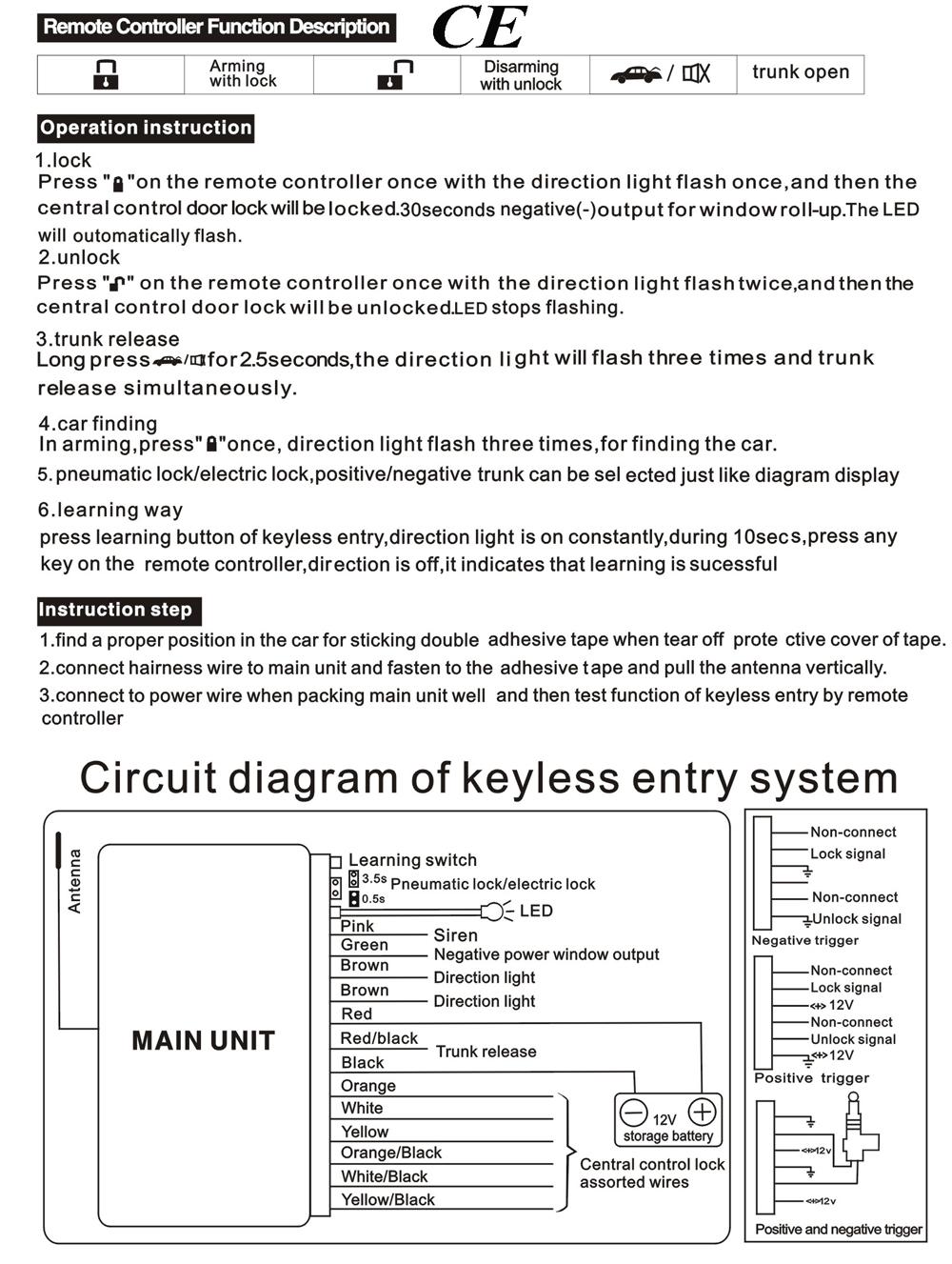 Car Alarm Keyless Entry Door Lock System Engine Start Stop Button Central Locking Wiring Diagram Remote Ignition Motor