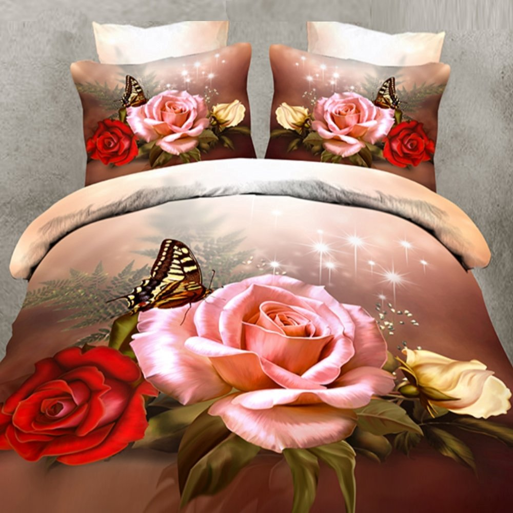 Alicemall Twin 3D Flower Bedding Pink Red Roses and Butterfly 4 Pieces Polyester 3D Bedding Sets, Floral Duvet Cover Set , Twin/ Full/ Queen/ King/ California King (Twin)