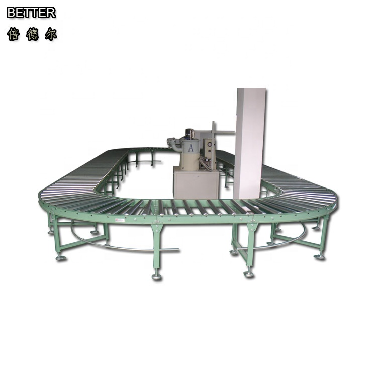 BC roller bed conveyor with 60mm dia.2.0mm wall thickness roller manual packaging conveyor for airfilter manufacture