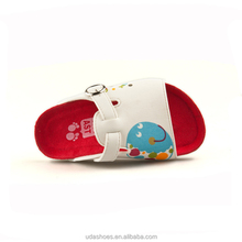 2018 Shoes cork footbed children slippers with blue fish printing baby slippers