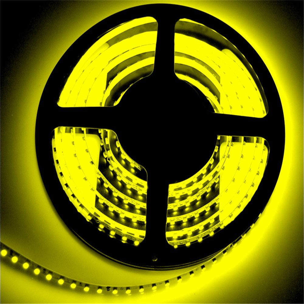 SuperonlineMall™ LED Strip Lights, 12V DC 16.4ft/5m Non-Waterproof LED Flexible Light Strip, 600 LEDs, 3528 SMD, Lighting Strips, LED Tape (Yellow)