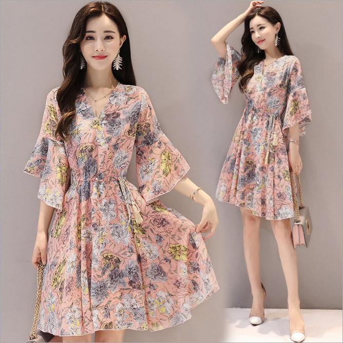 Dl20049e 2017 Korean Dresses New Fashion Lady Dress V Neck Fl Chiffon Casual Printed