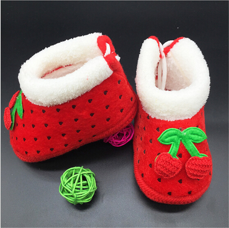 2015 Fashion Lovely Fruit Baby Shoes Boots Infant Shoes Warm Winter First Walkers
