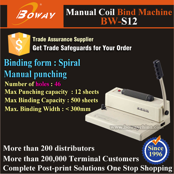 A4 300mm Hand Operated Electric Coil Spiral thread binding machine