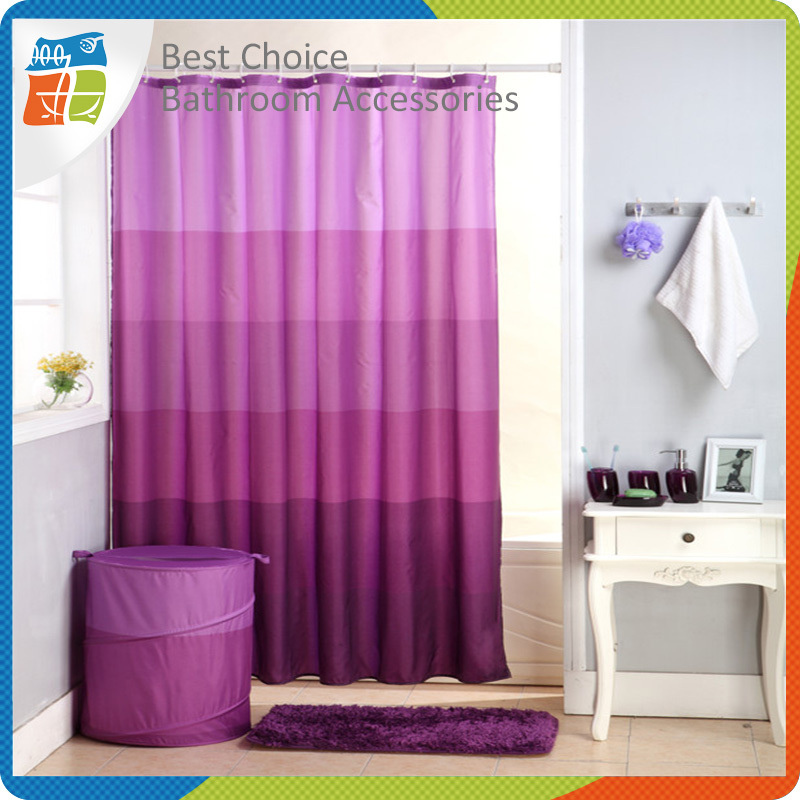 Purple Double Swag Shower Curtain With Valance Curtain