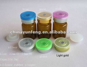 5ML Pharmaceutical Vial with Silicone Rubber Stopper & transparent top flip off cap