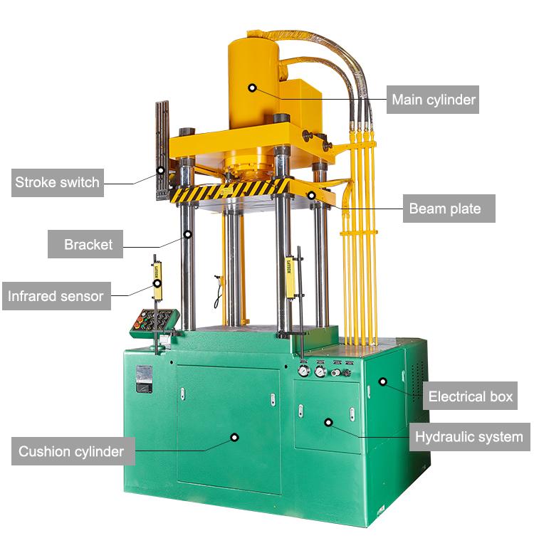 Profesional 200 Ton Empat Kolom Mesin Press Hidrolik untuk Stainless Steel Fry Pan
