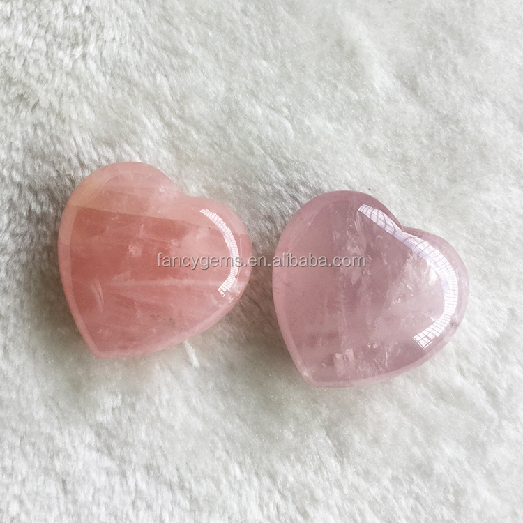 STOCK ITEM 45mm Natural Healing Stone Polished Rose Quartz Crystal Heart