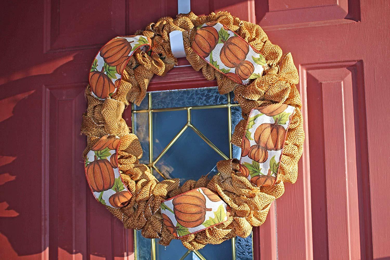 Fall Burlap Wreath with Pumpkin Ribbon